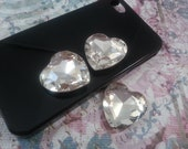 27mm Clear Heart Rhinestone 2pc