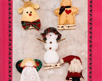 Mini Ornaments - More Pin Ups: 5 Mini Ornaments On Mini Clothes Pins - Christmas Ornaments - Mini Santa - Angel - Snowman