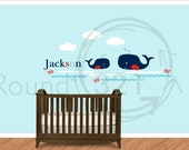 Jackson Whale and Baby Whale Decal - Personalized Wall Vinyl - Ocean Theme Children's Room - Infant Room Decal