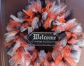Halloween Wreath, Black Orange tulle, Welcome all creatures big and small, Trick or treat, EEK, Witches, Pumpkin, Scary, Black cat, ghost
