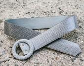 Gray faux snake skin adjustable belt