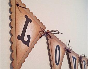 """LOVE is Sweet """" Vintage Wedding Banner - Garland Wedding - Wedding  Pennant - Brown jute rope - Rustic/Shabby chic"""