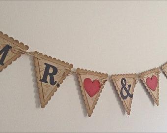 Mr. & Mrs. Wedding Pennant Garland Banner- Cream Vintage style Shabby Chic - Brown and cream - decoration