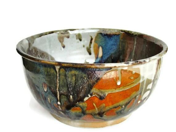 Extra Large, Bowl, Salad Bowl, Pasta Bowl,Fruit, Bowl, Serving Bowl,Green, Blue, Rust, Tan, White,Ceramic Stoneware,Wedding Gift