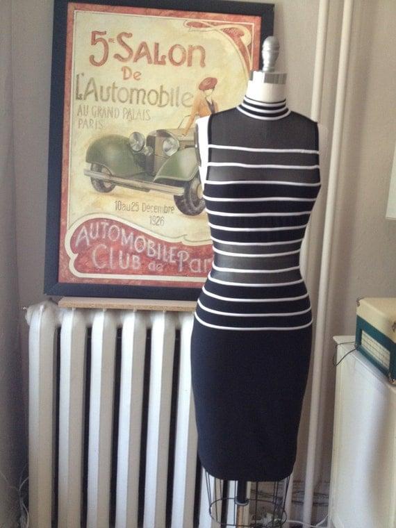 Circa 1980's black and white stripe stretch illusion dress, size small