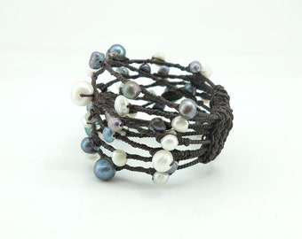 White and grey freshwater pearl,wax cotton on wire bangle