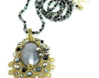 Black agate pendant with smoky quartz necklace