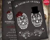 Til Death Do Us Part Chalkboard Inspired Wedding Invitation - Skull Wedding Alternative wedding Offbeat wedding