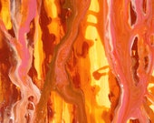 abstract painting, poured acrylic, 16X20 pink, yellow, salmon, coral, brown, orange, OOAK, nonobjective