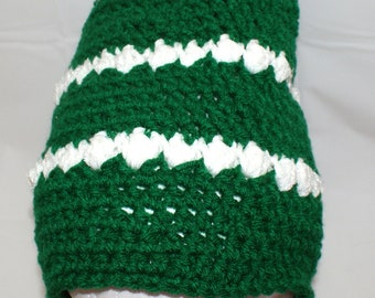 Green Slouch Hat, Green Slouchy Cap, Green and White Hat, Green Christmas Hat, Mens Crochet Hat, Back to School Cap, School Hat, Urban