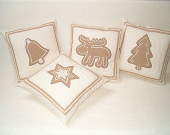 Decorative Throw Pillows Gingerbread Pillowcases (4)  Holiday Christmas Winter  Room Decor HET