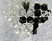 Black Ribbon Awareness Heart Pendant