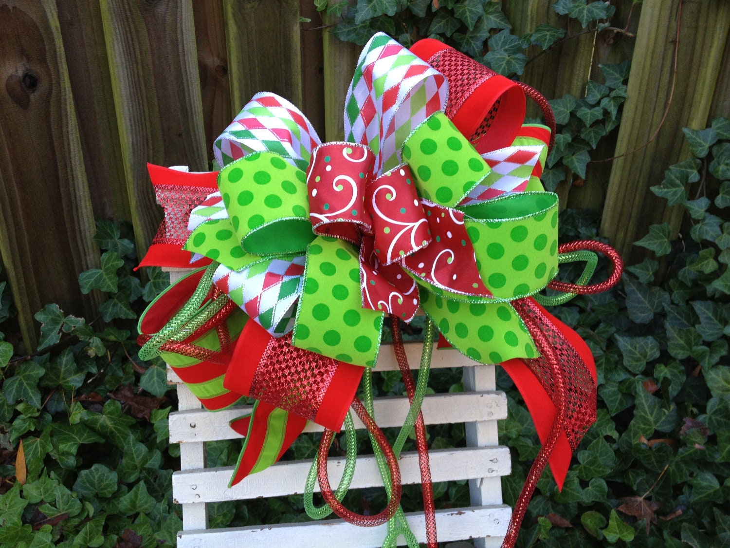 Christmas Tree Topper Christmas Bow By TheHolidayBowtique