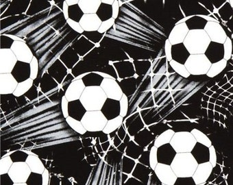Timeless Treasures fabric SOCCER BALLS and NETS on Black