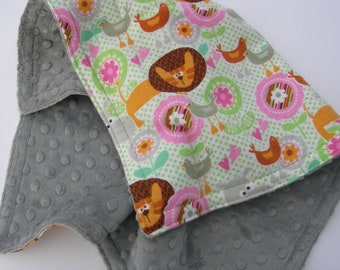 Security Blanket - Hippos, Lions & Birds Flannel with Grey Bubble Minky
