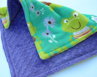 Frogs and Flowers Double Minky Security Blanket