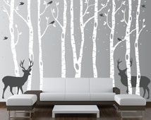 Nursery Birch Tree Wall Decal Forest with Snow Birds and Deer Vinyl Sticker Removable (9 trees) 1161