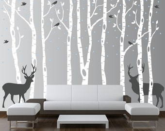 Birch Tree Wall Decal Forest with Snow Birds and Deer Vinyl Sticker Removable (9 trees) 9 feet tall 1161