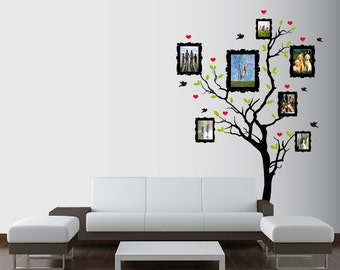 Large Wall Family Picture Frame Tree Decal with Hearts, Birds and Leaves Nursery 1163 (8 feet tall)