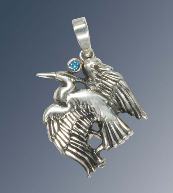 items similar to great blue heron handmade pendant in