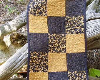 Gold and black quilted table runner/table topper