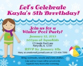 Winter Pool Party Invitations. Customized just for you're upcoming party. Girl's hair and skin color can be changed as needed.