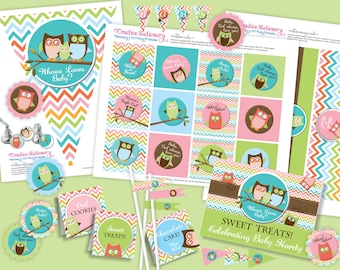 Owl Baby Shower DIY Party Printables Package. Gender Neutral 2. Fun chevron pattern. Owl themed party printables customized just for you.