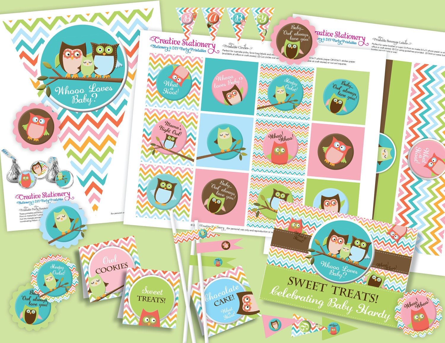Owl Baby Shower Diy Party Printables By Creativestationery