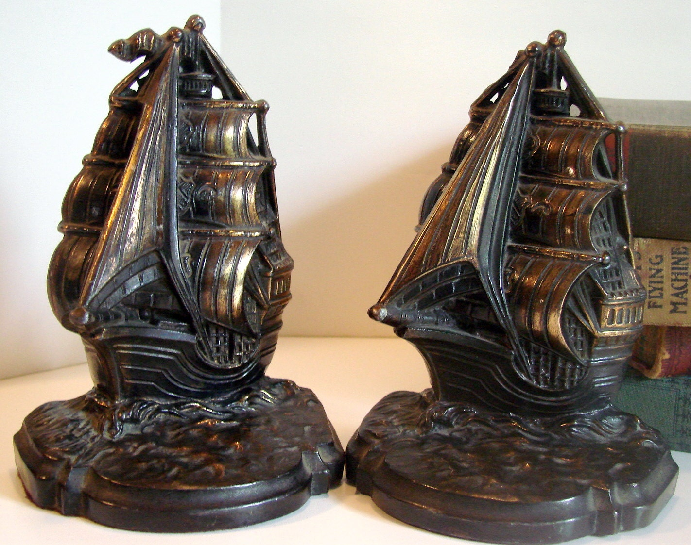 On Sale Vintage Brass Sailboat Bookends