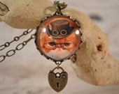 Steampunk Kitty Necklace, Steampunk Cat with Hat, Pince Nez Glasses and Padlock Necklace
