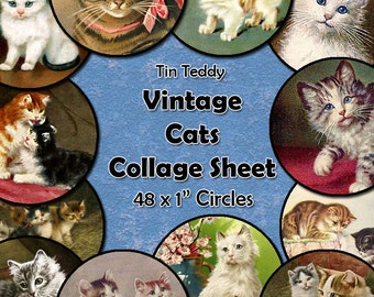 Vintage Cats Digital Collage Sheet  - 1 Inch Circles x 48  - Perfect for Jewelry, Bottle Caps - Instant Download