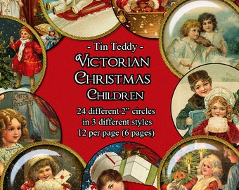 Victorian Christmas Children Printable Digital Collage Sheets - 24 different 2 inch circles in 3 different styles each - for holiday crafts