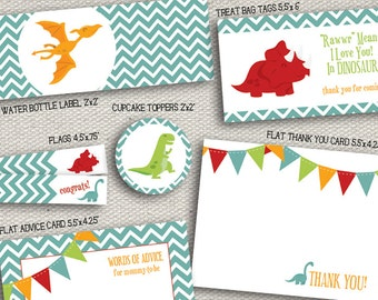 Printable Bright Colored Dinosaur Baby Shower Pieces - Banner, Cupcake Toppers, Thank You Card and more