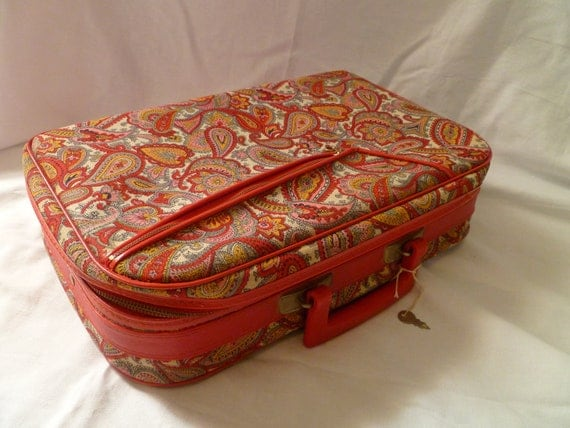 Small Vintage Red Paisley Suitcase  Vintage luggage   Small vintage suitcase