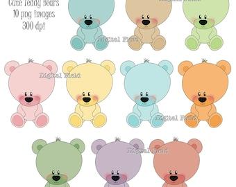Cute Teddy Bear Clip Art Set - printable digital clipart - instant download