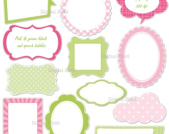 Pink green labels - frames and speech bubbles clip art set - printable digital clipart - instant download