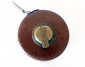 30% OFF - Vintage tape measure ruler from Czechoslovakia - brown leather case - industrial decor