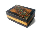 30% OFF - Bohemian brown wood box - ethnic pattern rustic wood hand crafted box  - geometric motifs