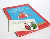 Vintage Babar and Father Christmas Book and Library Card Art Print - Combination of vintage hardcover book and art