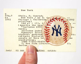 Yankees Baseball Library Card Art - Print of my painting of vintage baseball on card for Baseball's Greatest Teams