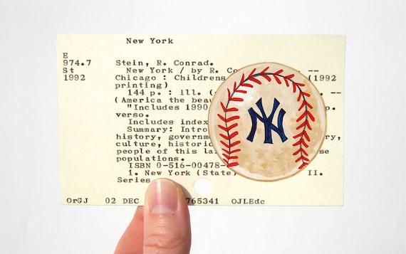 Yankees Baseball Library Card Art - Print of my painting of vintage baseball on card for Baseball's Greatest Teams
