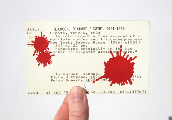 Truman Capote In Cold Blood Library Card Art - Print of my painting of blood spatters on library card catalog card for In Cold Blood