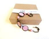 Pink bracelet polka dots bracelet bridesmaid jewelry dainty jewelry