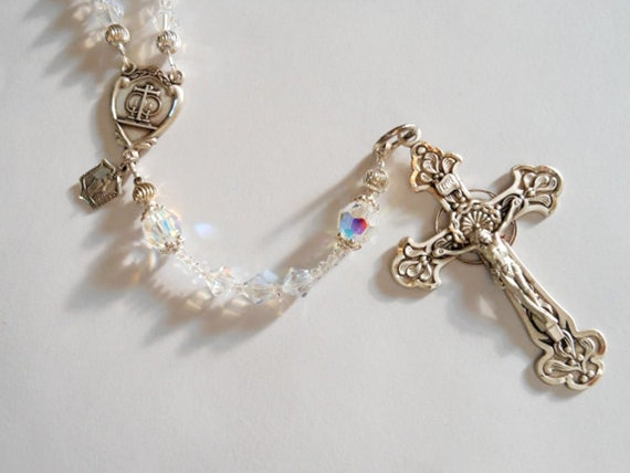 Crystal and Sterling Wedding Rosary