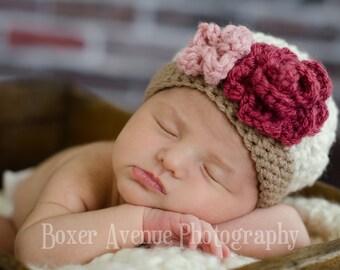 Baby Girl Hat, Toddler Girl Hat, Crochet Baby Hat, Cream, Brown,