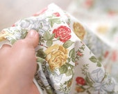 Vintage Shabby Roses in White Wide Fabric per Yard CP 17257