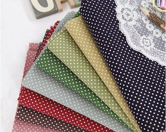 Cotton Linen 2 mm Polkadots - Red, Pink, Brown, Yellow, Olive Green, Green, Sky Blue or Navy - per Yard 28960