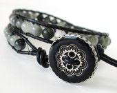 Cat's Eye Quartz Leather Wrap Bracelet