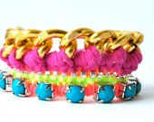 Friendship bracelet, neon multicolor pink mint orange turquoise, gold plated chain, knitted thread work, chrystal rhinestones