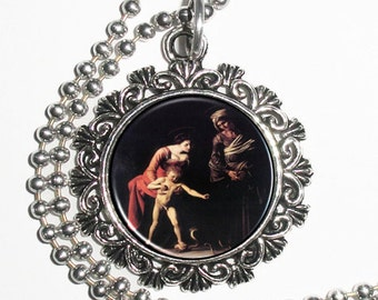 Madonna Palafrenieri Art Pendant, Madonna with the Serpent Resin Pendant, Caravaggio Art, Photo Charm Necklace